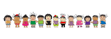 Povos engraçados, desenhos animados ilustração royalty free