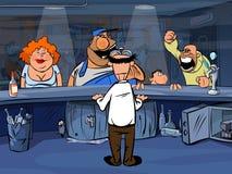 Povos engraçados dos desenhos animados na barra Foto de Stock Royalty Free