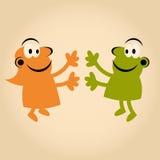 Povos engraçados dos desenhos animados no amor Foto de Stock Royalty Free