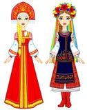 Povos eslavos Retrato da animação da mulher do russo e do ucraniano na roupa tradicional Europa Oriental Caráter do conto de fada Imagem de Stock