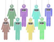 Povos etiquetados e com código de barras - tráfico humano ilustração do vetor