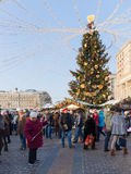Povos felizes no quadrado de Manege, Rússia Fotos de Stock Royalty Free