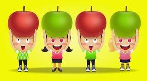 Povos felizes que levam maçãs grandes ilustração do vetor
