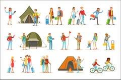 Povos felizes que viajam e que têm as viagens de acampamento ajustadas de caráteres lisos dos turistas dos desenhos animados ilustração do vetor
