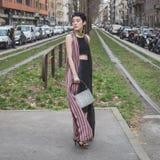 Povos fora da construção do desfile de moda de Gucci para Milan Women Fas Imagem de Stock