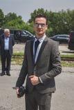 Povos fora da construção do desfile de moda de Gucci para o Fashi de Milan Men Foto de Stock