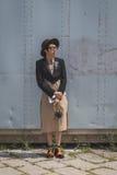 Povos fora da construção do desfile de moda de Gucci para o Fashi de Milan Men Imagens de Stock