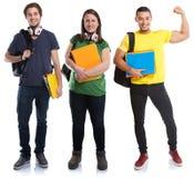 Povos fortes bem sucedidos do poder do sucesso novo dos estudantes isolados no branco fotografia de stock royalty free