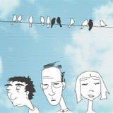 Povos furados das caras no fundo do céu azul Fotografia de Stock