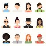 Povos, homem do avatar e fêmea, rostos humanos Fotografia de Stock