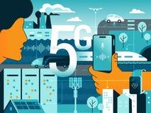 Povos lisos com os dispositivos que sentam-se no símbolo 5G grande ilustração stock