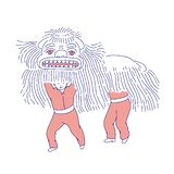Povos lunares do ano novo do monstro do leão chinês no traje tradicional Linha decoração do vetor do feriado da arte naturalizado ilustração royalty free