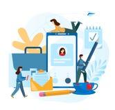 Povos minúsculos Mesa do trabalho do conceito e acessórios do empregado da empresa s ilustração royalty free