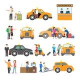 Povos modernos lisos do serviço do táxi da captura das famílias ilustração royalty free