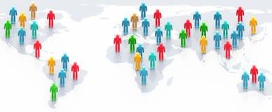 Povos Multicolor sobre o mapa de mundo ilustração stock