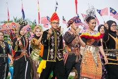 Povos multiculturais durante o Dia da Independência de Malásia Fotos de Stock Royalty Free