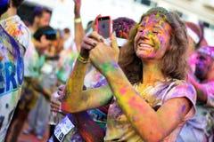 Povos não identificados na corrida da cor Foto de Stock Royalty Free