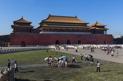 Povos na Cidade Proibida na cidade do Pequim, em China Fotos de Stock