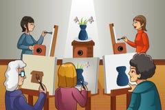 Povos na classe da pintura Fotos de Stock Royalty Free