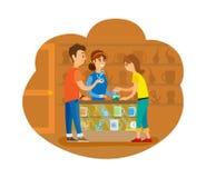 Povos na compra de loja Toy Interior Bazaar da lembrança ilustração do vetor
