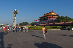 Povos na entrada da Cidade Proibida na cidade do Pequim, em China Foto de Stock