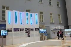 Povos na exposição durante o fórum cultural internacional de St Petersburg Imagens de Stock