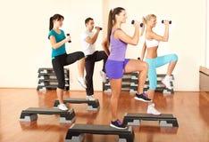 Povos na ginástica que exercitam com dumbbells Fotografia de Stock