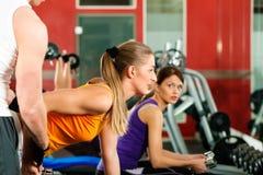 Povos na ginástica que exercitam com pesos Imagens de Stock Royalty Free