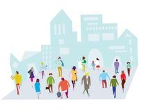 Povos na ilustração da cidade ilustração stock