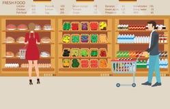 Povos na mercearia do supermercado com alimentos frescos Ilustração Royalty Free