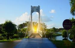 Povos na ponte no parque público na noite foto de stock royalty free