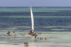 Povos na praia de Zanzibar imagem de stock