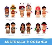 Povos na roupa nacional Austrália e Oceania ilustração stock