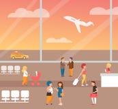 Povos no aeroporto da sala de espera Imagem de Stock