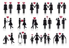 Povos no amor, jogo do ícone do vetor Imagem de Stock