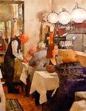 Povos no café italiano imagem de stock
