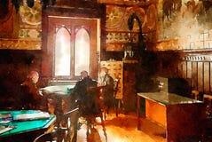 Povos no clube superior em Lisboa, estilo da aquarela fotos de stock royalty free