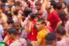 Povos no festiva de Tomatina do La fotos de stock royalty free