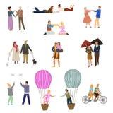 Povos no grupo do amor Dia do `s do Valentim Pares felizes com atividades diferentes ilustração royalty free