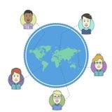 Povos no mapa do mundo Masculino e fêmea enfrenta avatars Fotografia de Stock