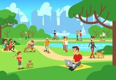 Povos no parque da cidade Os homens e as mulheres de relaxamento exteriores com telefones espertos vector a ilustração ilustração royalty free
