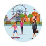 Povos no parque de diversões ilustração royalty free