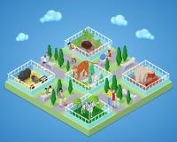 Povos no parque exterior do jardim zoológico com animais Ilustração 3d lisa isométrica ilustração do vetor