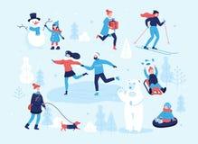 Povos no parque que tem atividades do divertimento e do inverno, esqui, patinando, menina que anda o cão, criança que faz um bone ilustração do vetor