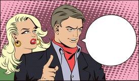 Povos no pop art retro do estilo e na propaganda do vintage O homem com uma menina quer atrair a atenção ilustração stock