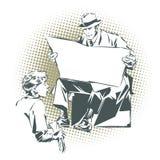Povos no pop art retro do estilo e na propaganda do vintage O menino limpa o homem das botas com um jornal Jornal para seu texto Foto de Stock
