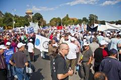 Povos no protesto nacional do salário de unidade Imagem de Stock