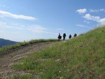 Povos no trekking Fotografia de Stock Royalty Free