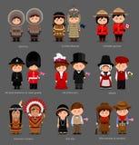 Povos no vestido nacional Reino Unido, Canadá, Estados Unidos da América Esquimós, Aleuts, indianos americanos ilustração royalty free