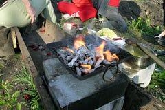 Povos pela grama de carvões do fogo foto de stock